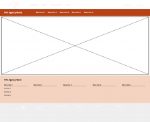 Wireframe showing Global Navigation header and footer