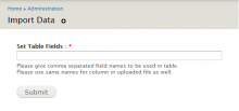 Screen For Defining Fields for Table as well as CSV Columns.