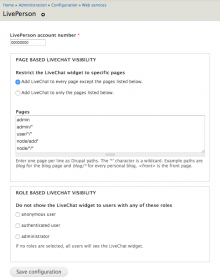 LivePerson module settings form