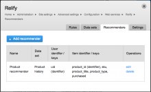 On-site configuration of Relify recommenders.