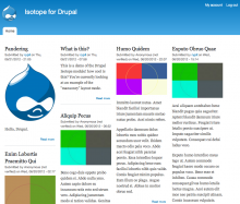 "Isotope For Drupal showing ""masonry"" layout"