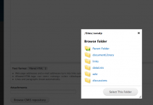 Folder picker UI showing how to select a folder to display the contents of on pa