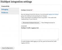 HubSpot Integration Settings screenshot (Drupal Module)