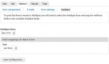 HubSpot Webform Node Settings screenshot (Drupal Module)