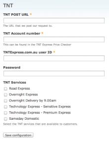 Commerce TNT Admin Settings Form