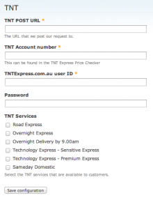 Commerce TNT Admin Settings Form