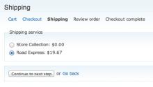 Commerce TNT Checkout Shipping Pane