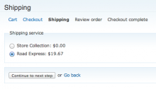 Commerce TNT Checkout Shipping Pane