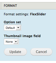 Display configuration form provided by the FlexSlider Field Collection module