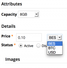 Item configuration screenshot showing BES currency as an option