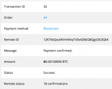 Transaction detail screenshot showing BTC