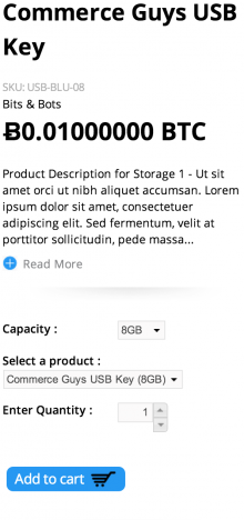 Commerce Kickstart screenshot showing USB key priced at 0.01 BTC