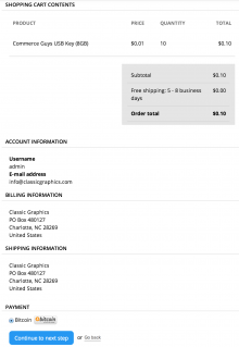 Review order screenshot showing Bitcoin payment
