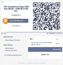 BitPay hosted checkout screenshot