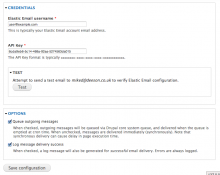 Elastic Email configuration screen