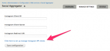 Instagram module initial settings screen