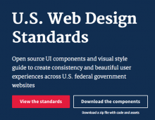 Screenshots of the 'U.S. Web Design Standards' website