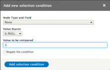 Entity Field Condition form.