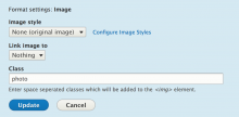 Screenshot of image formatter settings with Image Class module