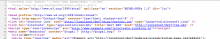 Screenshot of the source code showing the rendered header element.