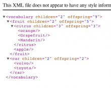 A screenshot of a test XML dump