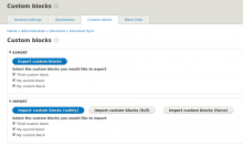 Screenshot of custom blocks import/export admin screen