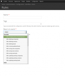 Rules event selector