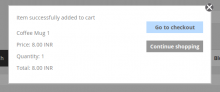 Pop up message after adding product