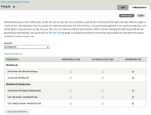 Instant Filter module in use on the admin/people/permissions page