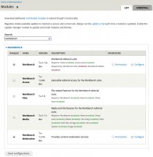 Instant Filter module in use on the admin/modules page