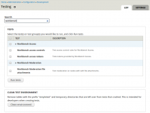 Instant Filter module in use on the admin/config/development/testing page