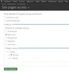 Site pages access configuration page