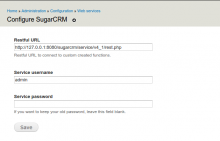 SugarCRM configuration page
