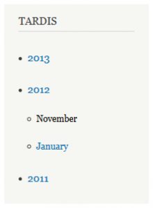 Image depicting a Drupal block with an indented list of years and months.