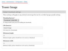 Teaser Image: default settings page