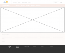 Wireframe showing uNav header and footer