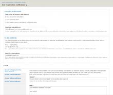 Example user registration notification settings screenshot