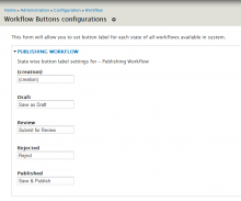 Workflow buttons label configuration