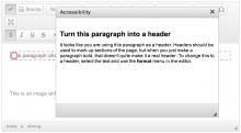 WYSIWYG integration shows a dialog box when users click the check page button.