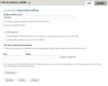 Ad manager ad provider form