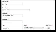 Address field widget form