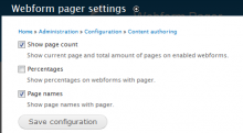 Administrator settings for webform pager