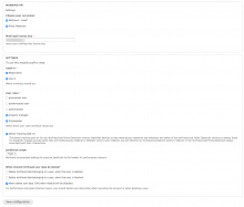 Admin settings page