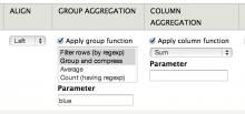 Screenshot of available aggregation functions