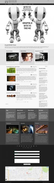 Drupal8 W3CSS Theme - Big Screen