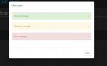 Bootstrap modal with messages