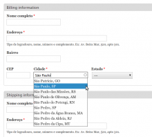 Brazilian addres form with city autocomplete.
