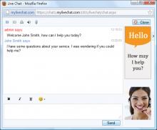 my live chat sreenshot
