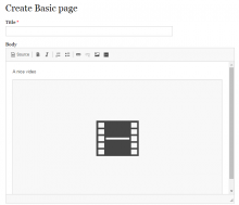 The video placeholder inside the editor