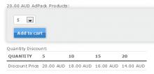 Commerce Discrete Quantity Discount quantity select widget on product view